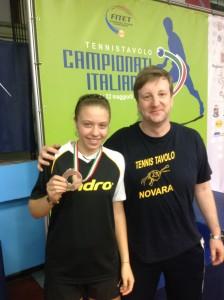 Alessia Contento con l'allenatore del TT. Novara Janos Illi